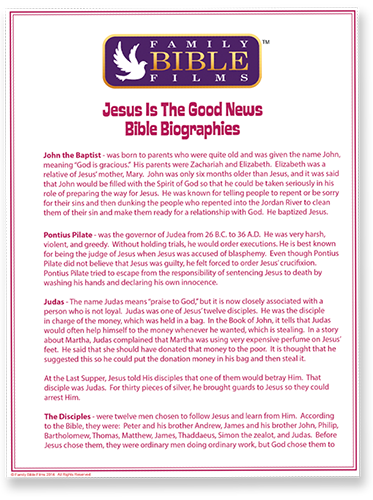 Family Bible Films printables make it easy for parents to help their children learn about the greatest stories of the bible