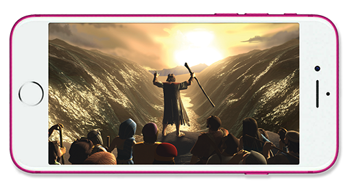 Moses parting the Red Sea as shown on an iPhone